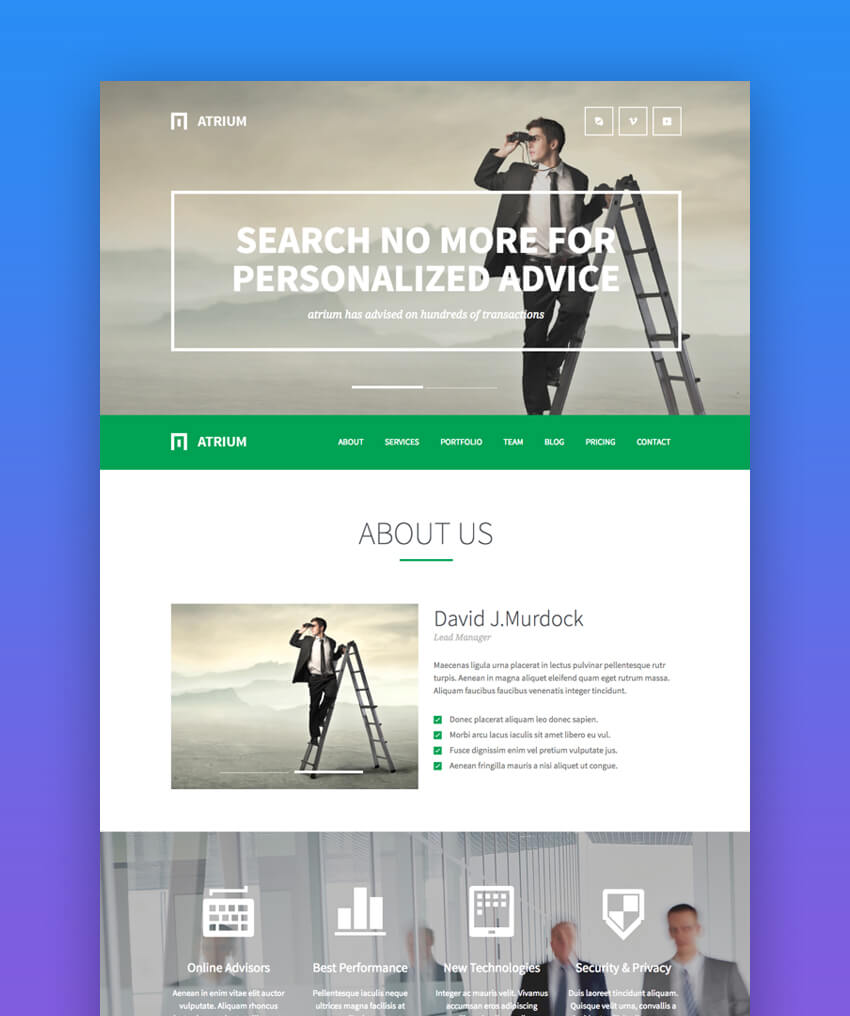 Atrium parallax law firm website template