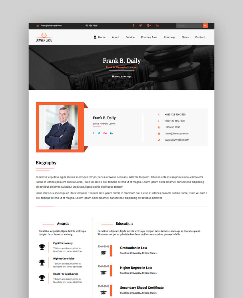 Lawyer Case website template