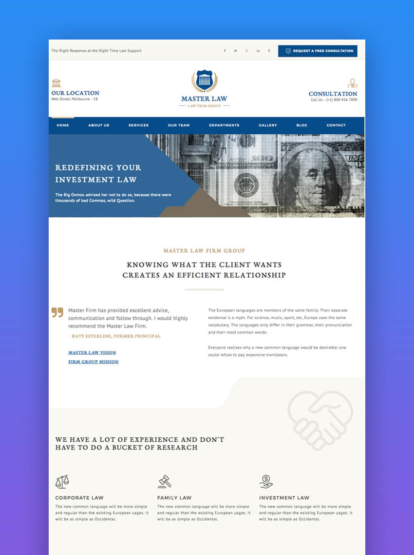 Top Responsive HTML Lawyer Law Firm Website Templates - Lawyer website template