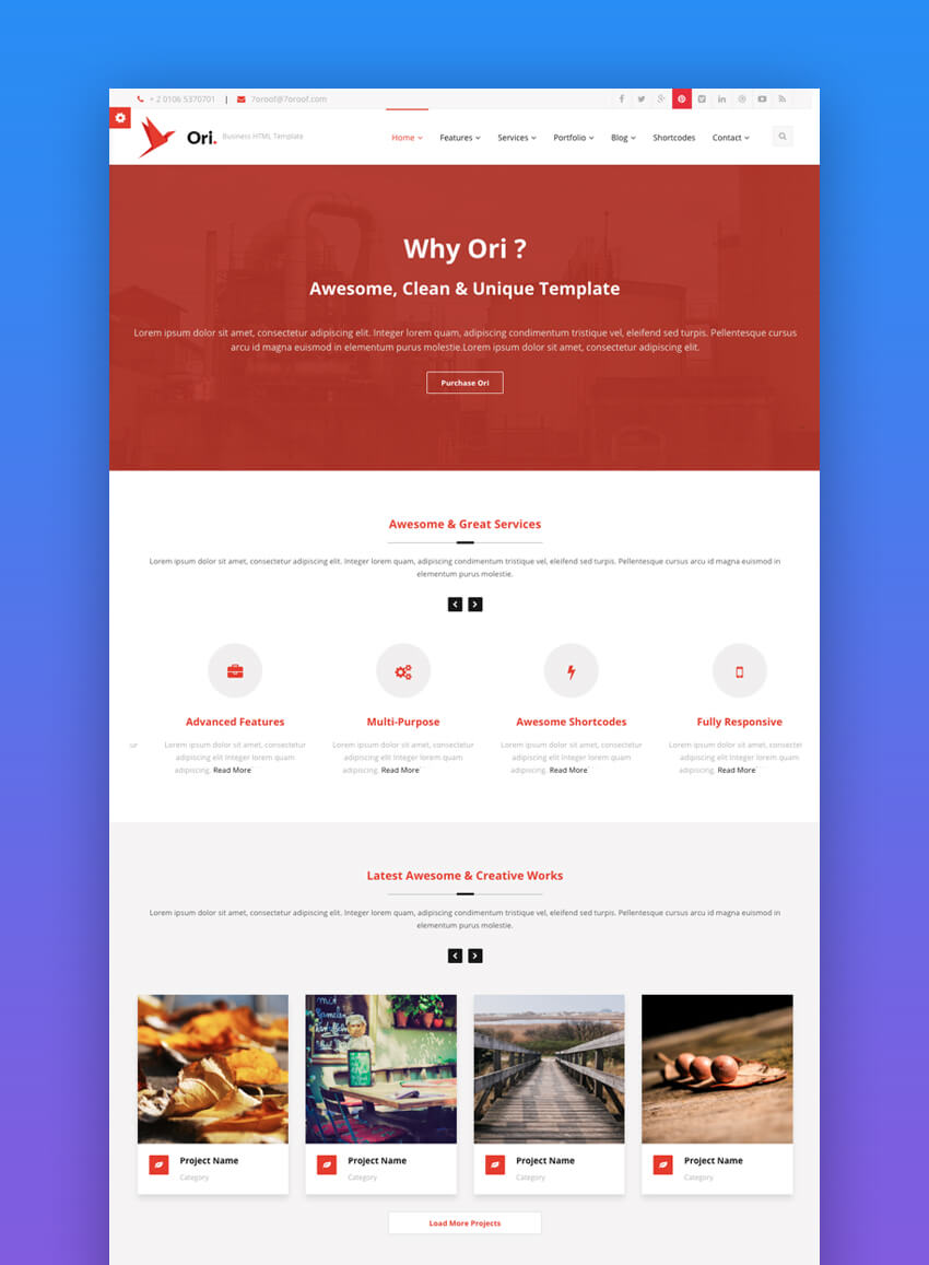 Ori website template