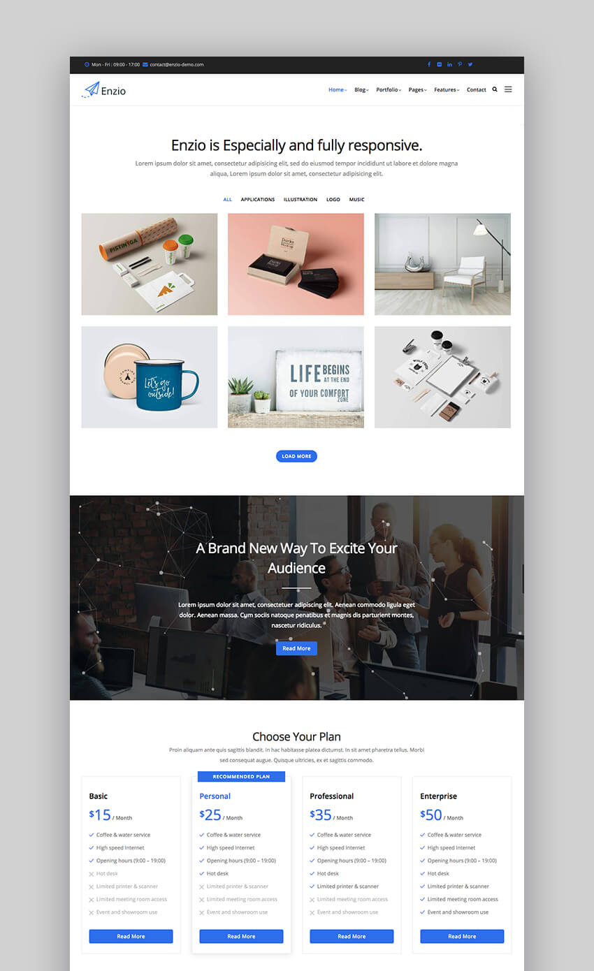 Enzio business Drupal theme
