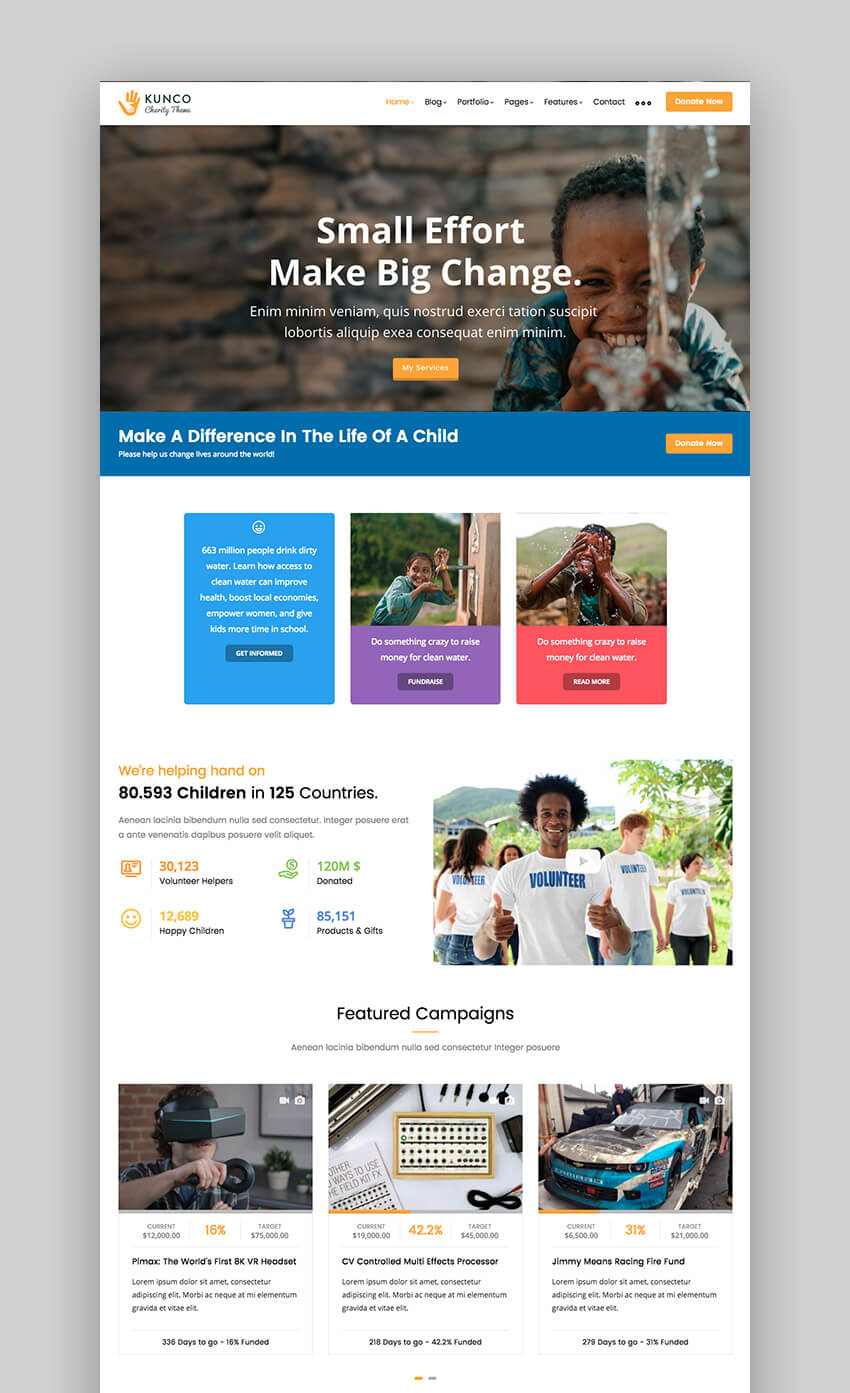 Kunco charity Drupal theme