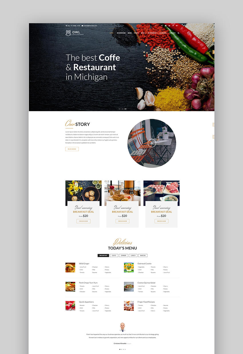 OWL Drupal theme for restaurants