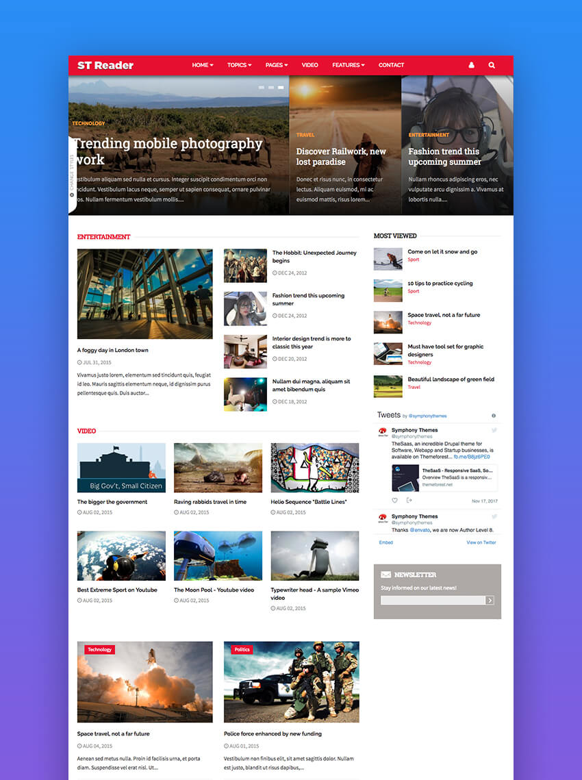 Reader - modern blog and news Drupal Theme