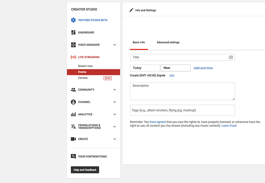Setting up an event in YouTube Live