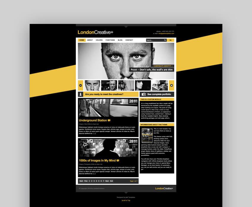 London Creative Joomla blog and portfolio template