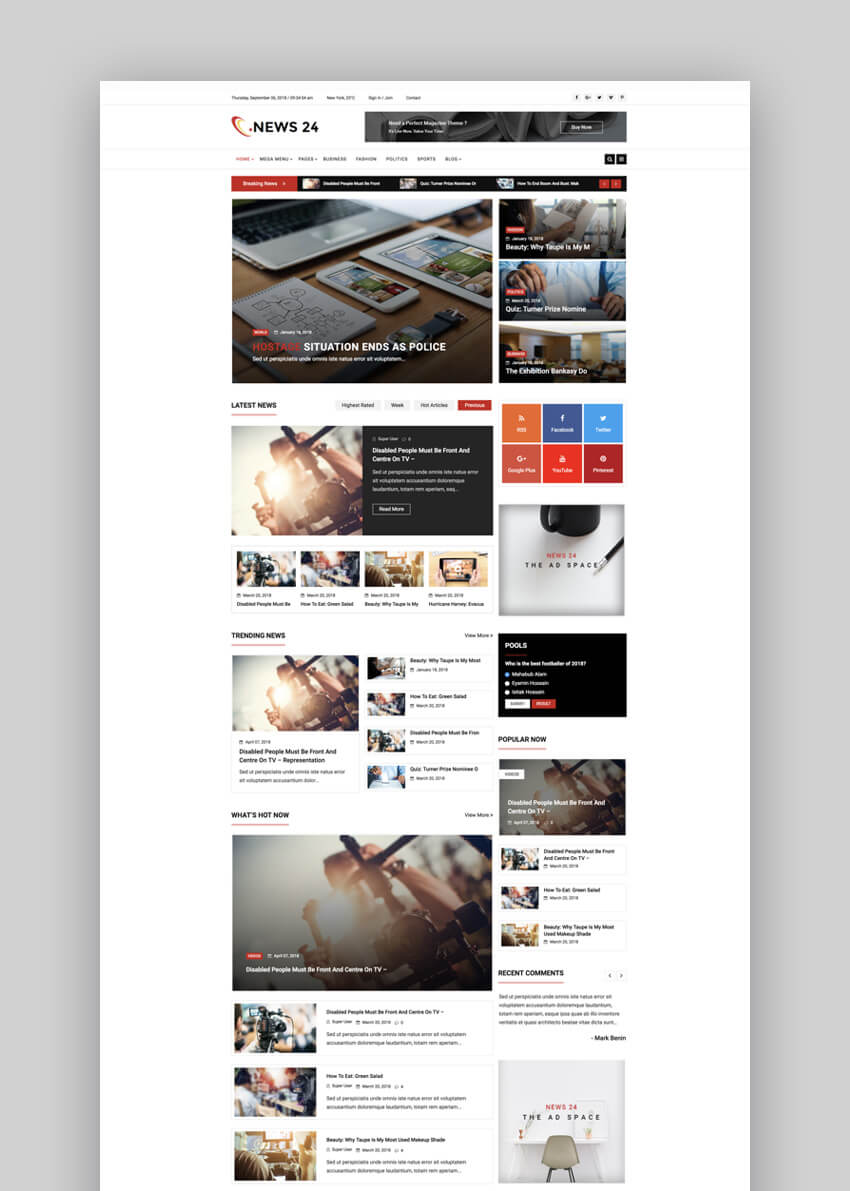 News 24 Joomla news blog template
