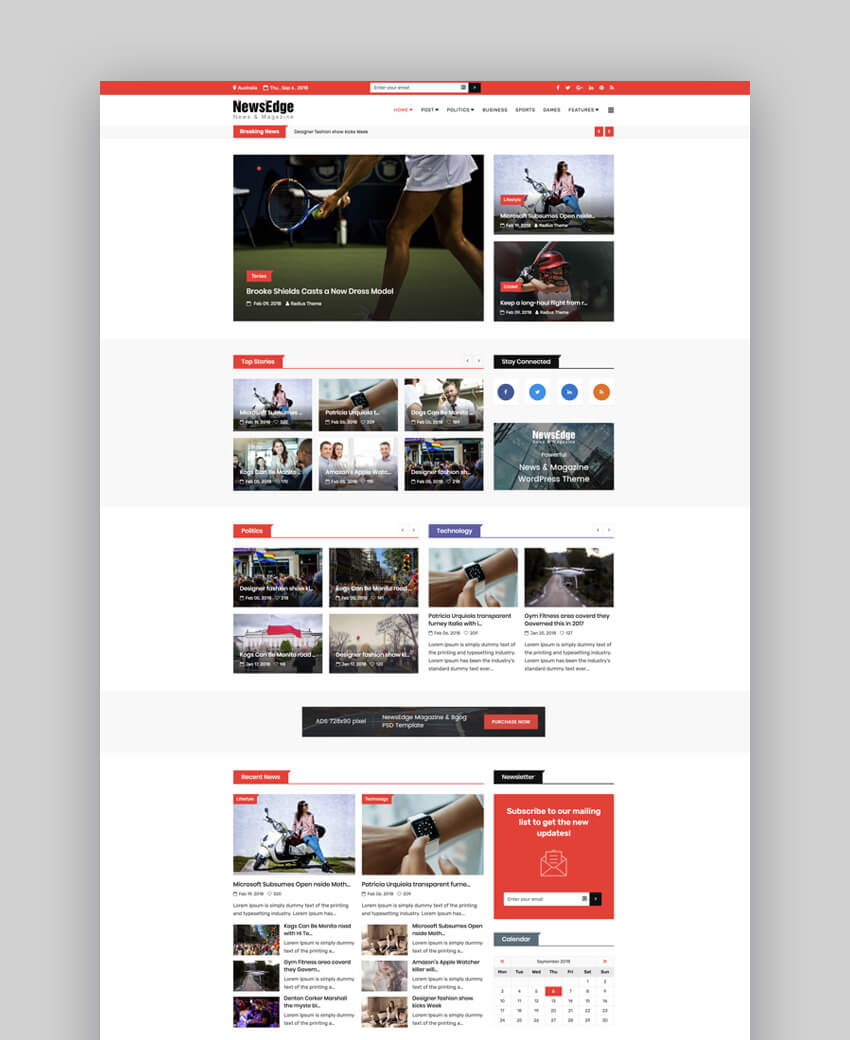 NewsEdge magazine and blog template