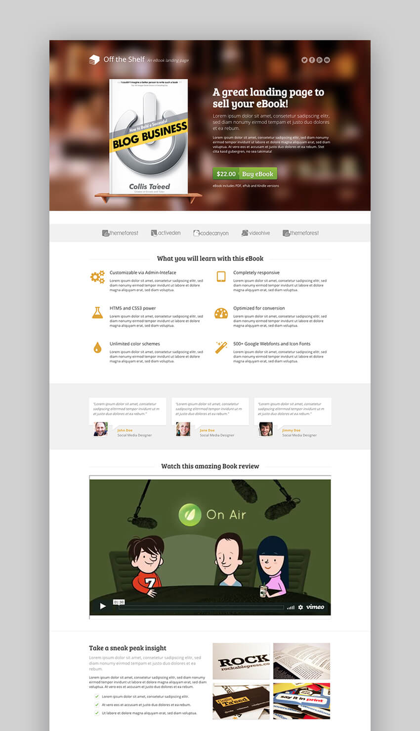 Off the Shelf book landing page template