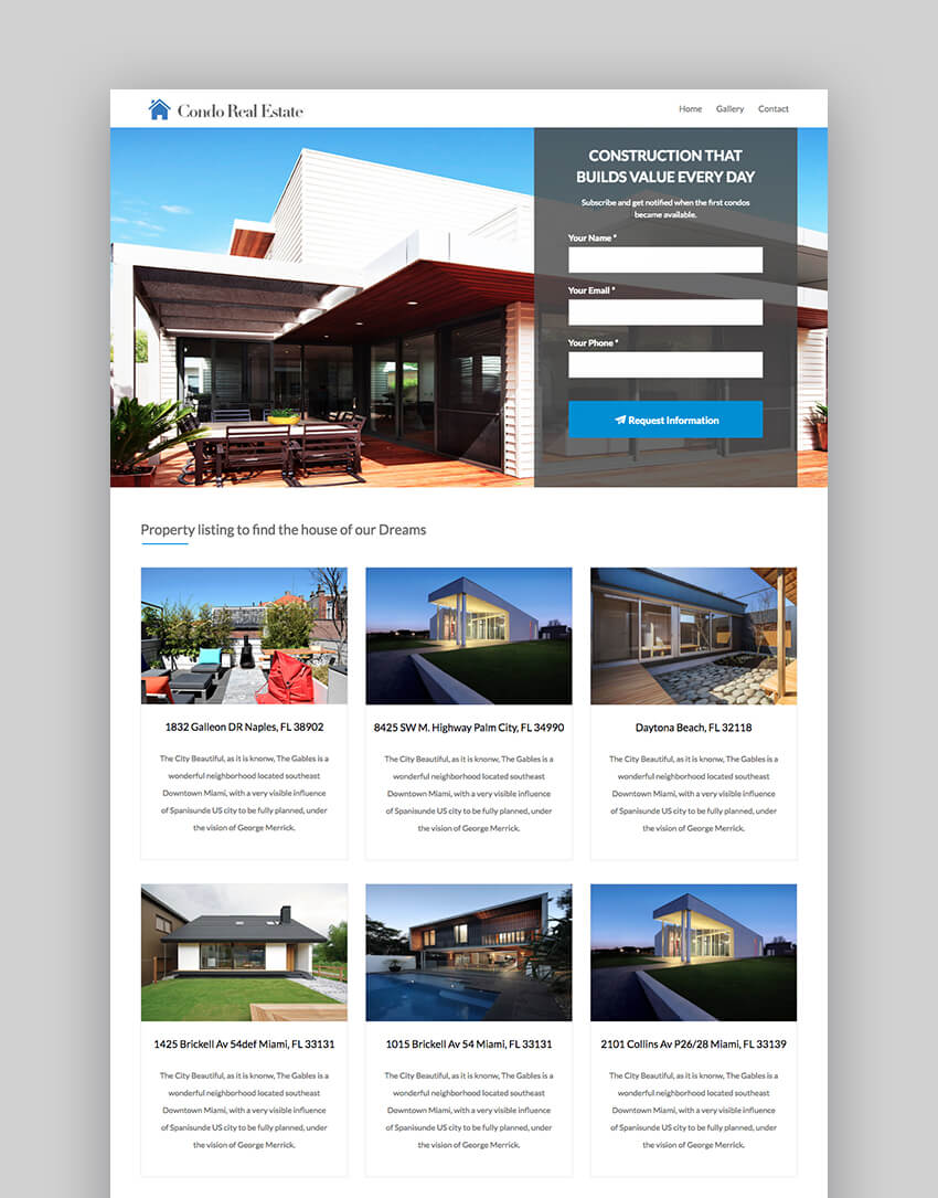Condo real estate landing page