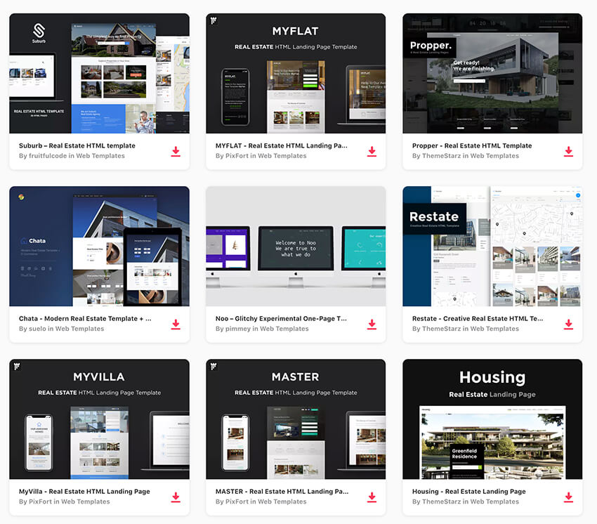 Envato Elements real estate landing page templates