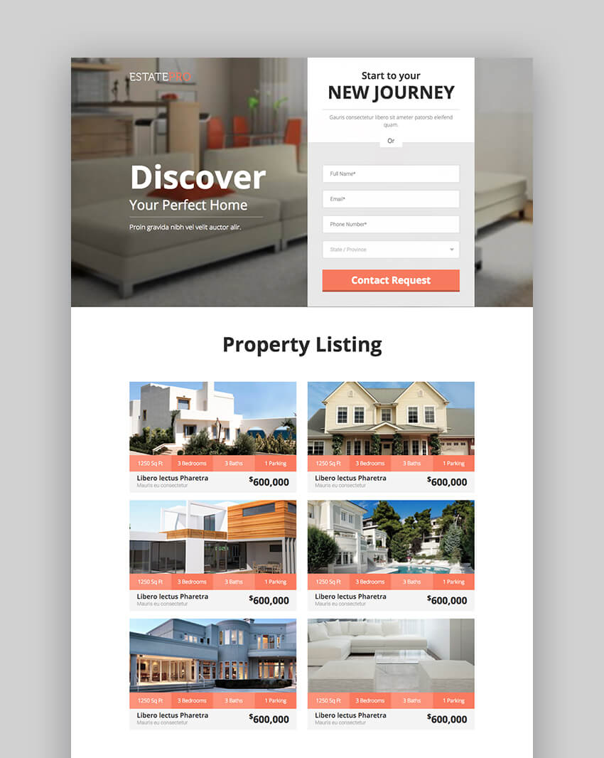 EstatePro landing page design template