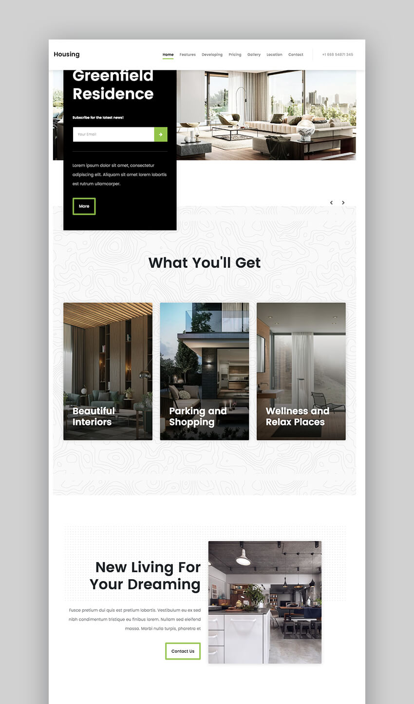 Housing realtor landing page template