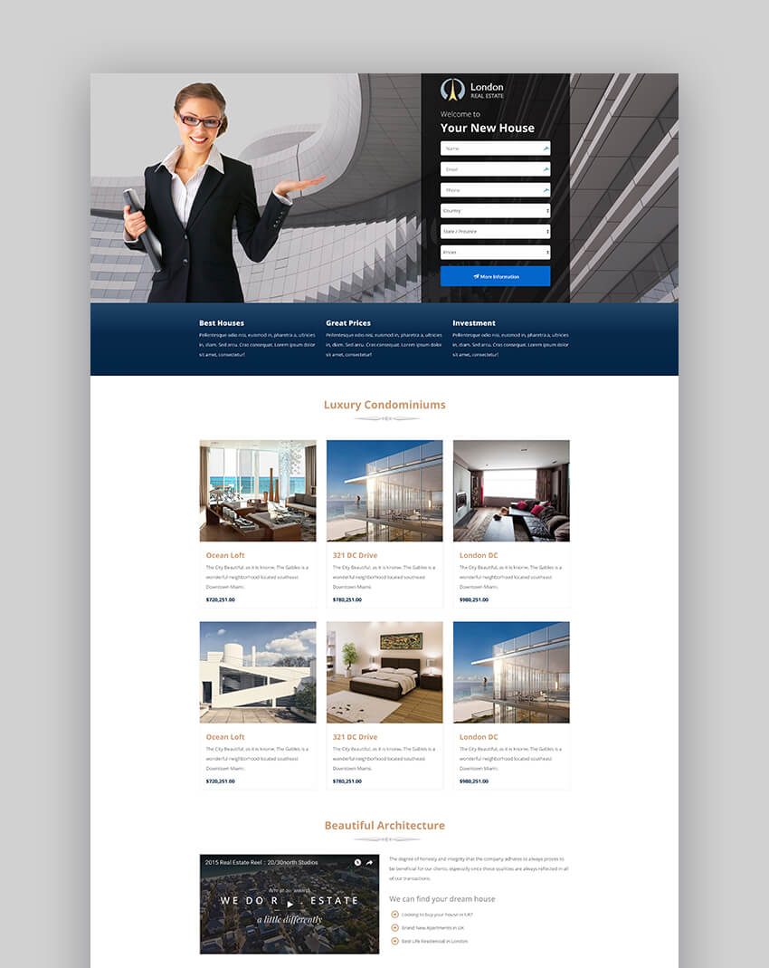 London minimal real estate landing page template