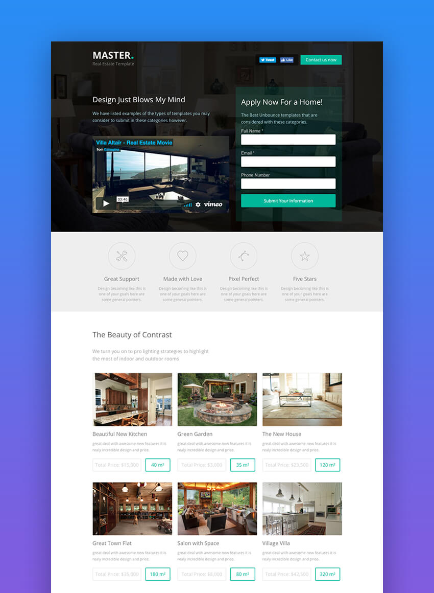 Master landing page design for real estate websites