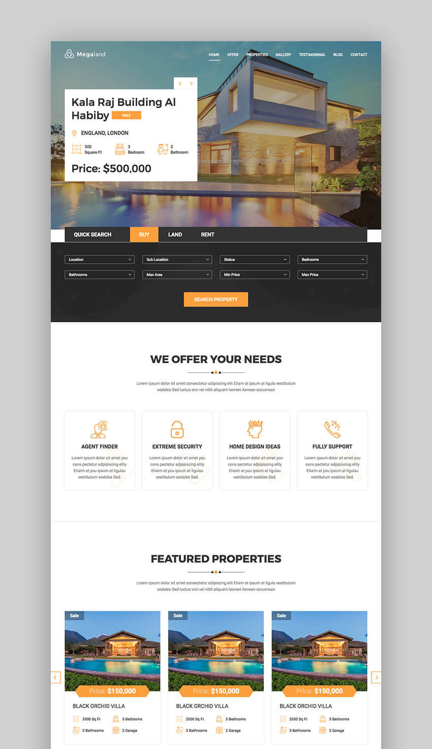 MegaLand real estate landing page design