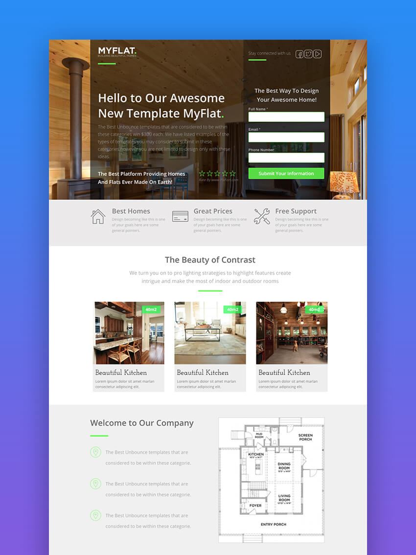 MYFLAT Modern real estate landing page template