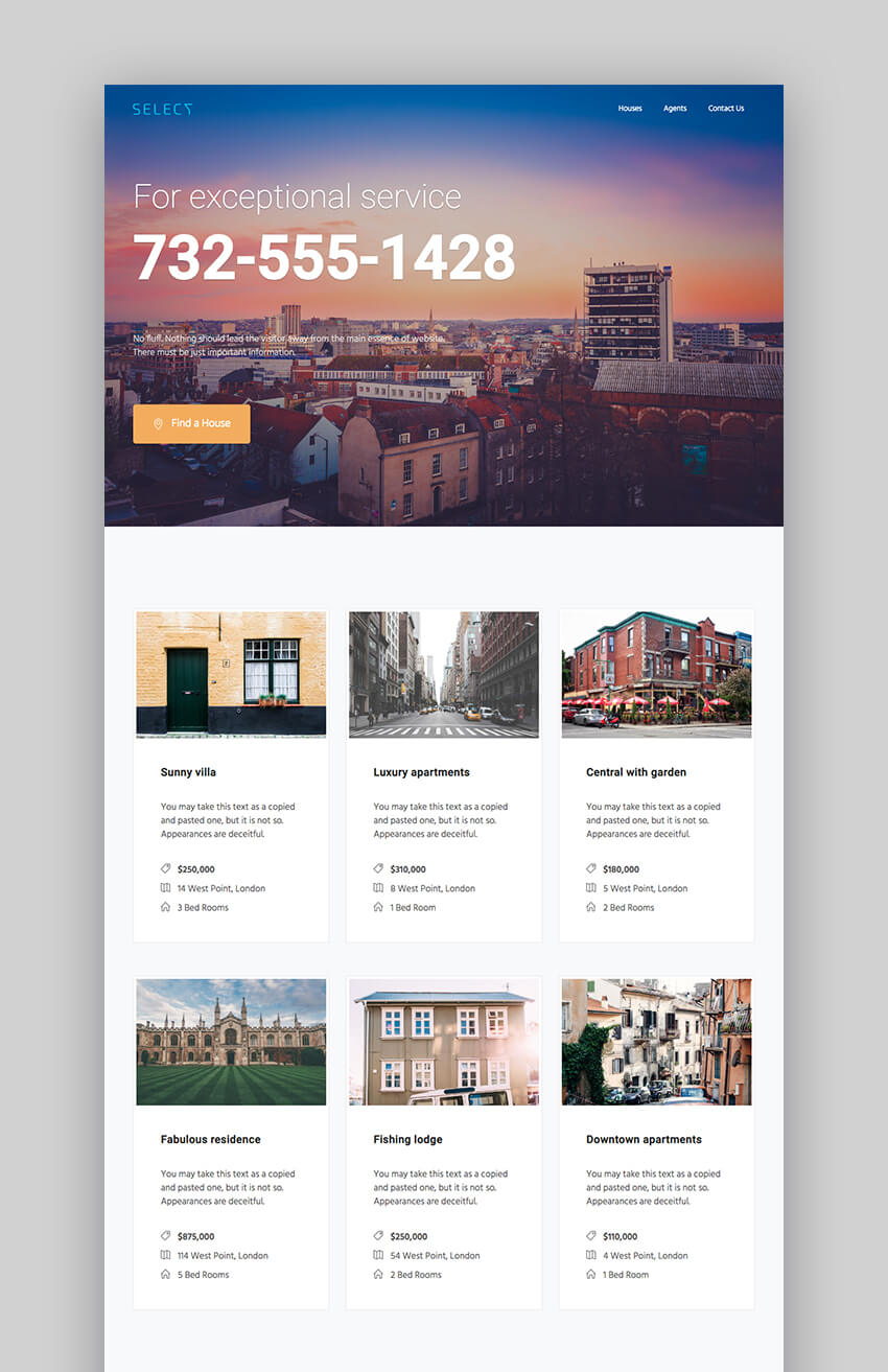 Select landing page design for realtors
