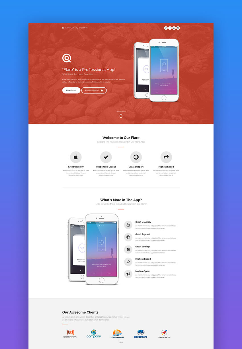 20 Best Mobile App Landing Page Template Designs 2018