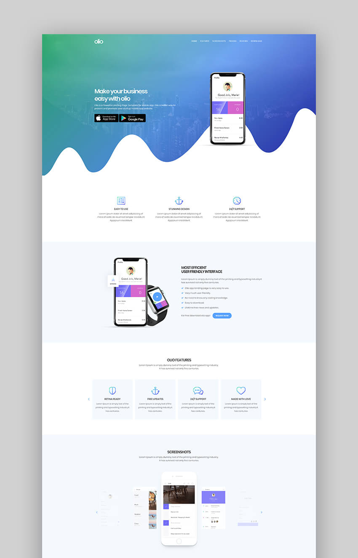 20 Best Mobile App Landing Page Template Designs 2018