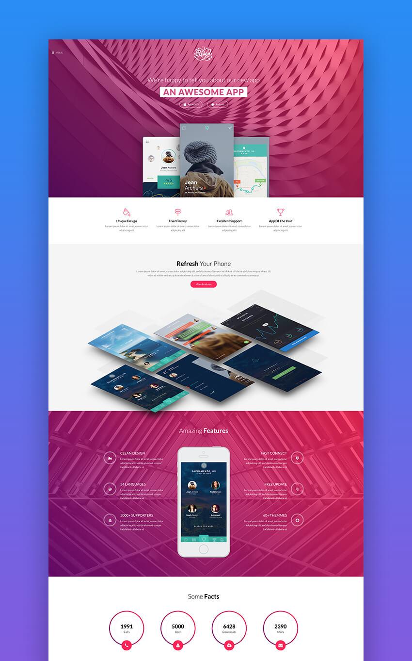 Fine 20 Best Mobile App Landing Page Template Designs 2018 Home Interior And Landscaping Ologienasavecom