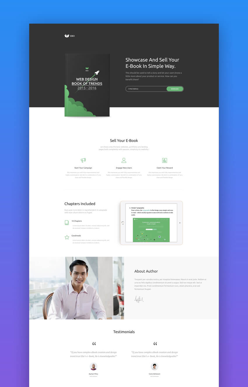 20 Best Book Ebook Landing Page Theme Designs 2018