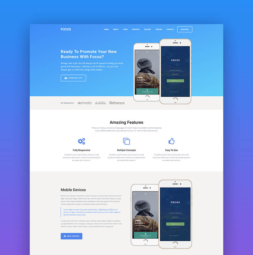 Focus mobile app landing page template