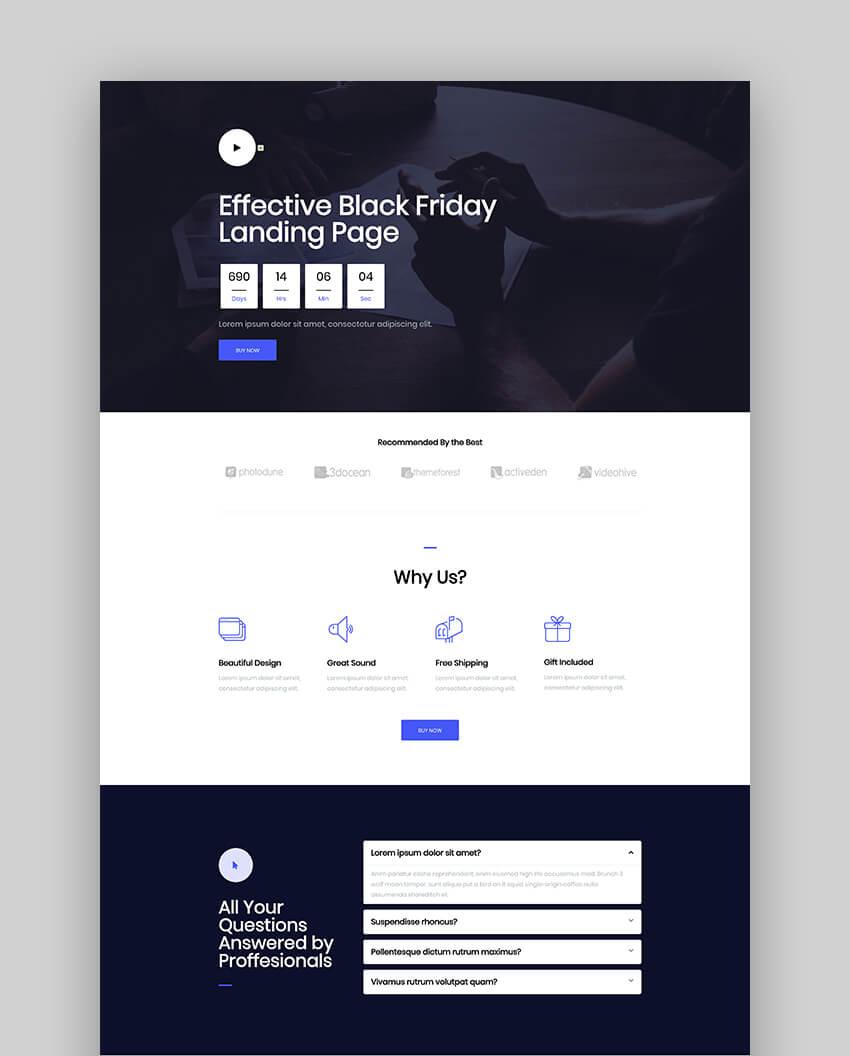 Black Landing Page Design