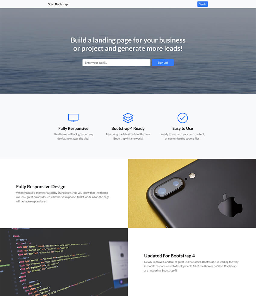 Landing Page Splash Page Design Template