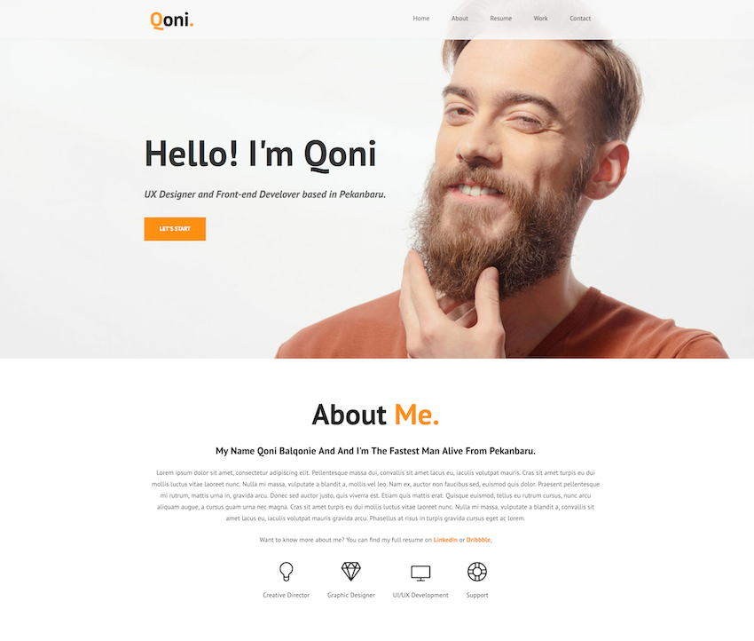 Qoni template for a personal resume website bio