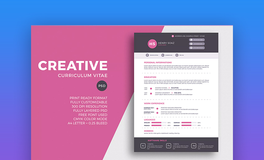 Creative Resume And CV Template