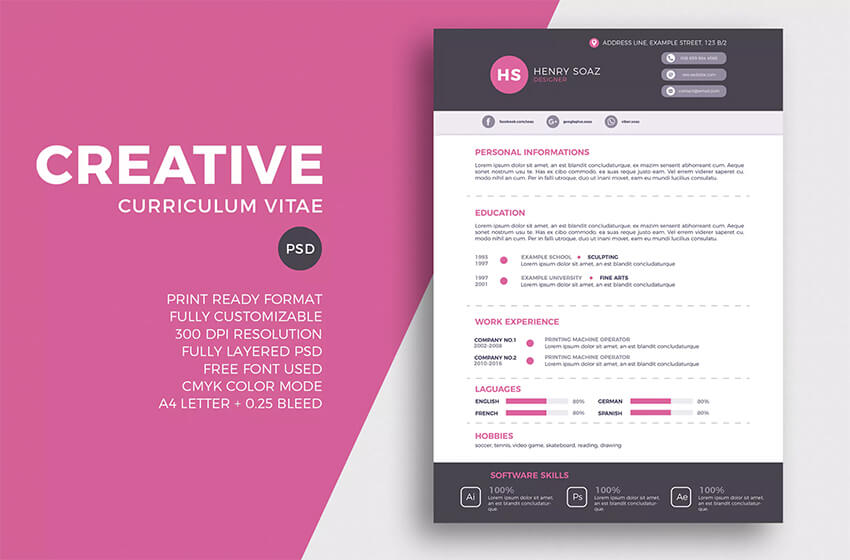 30 top visual  cv  resume templates for the best creative  u0026 artist resumes in 2019