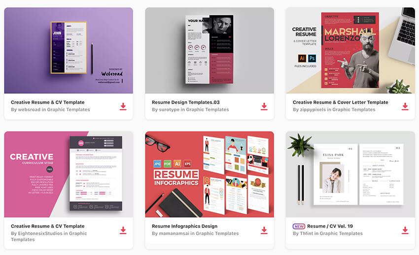 Visual Resume Templates on Envato Elements
