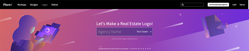 Searching Placeit for Real estate logo templates