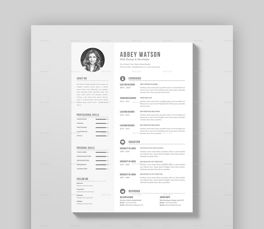 20 awesome resume templates  with beautiful layout designs