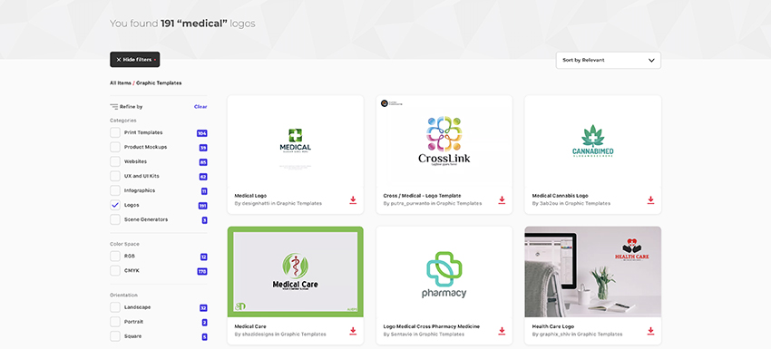 Medical logo templates on Envato Elements