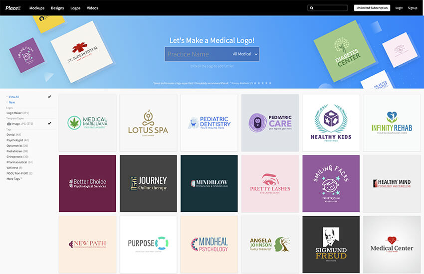 Logo templates on Placeit