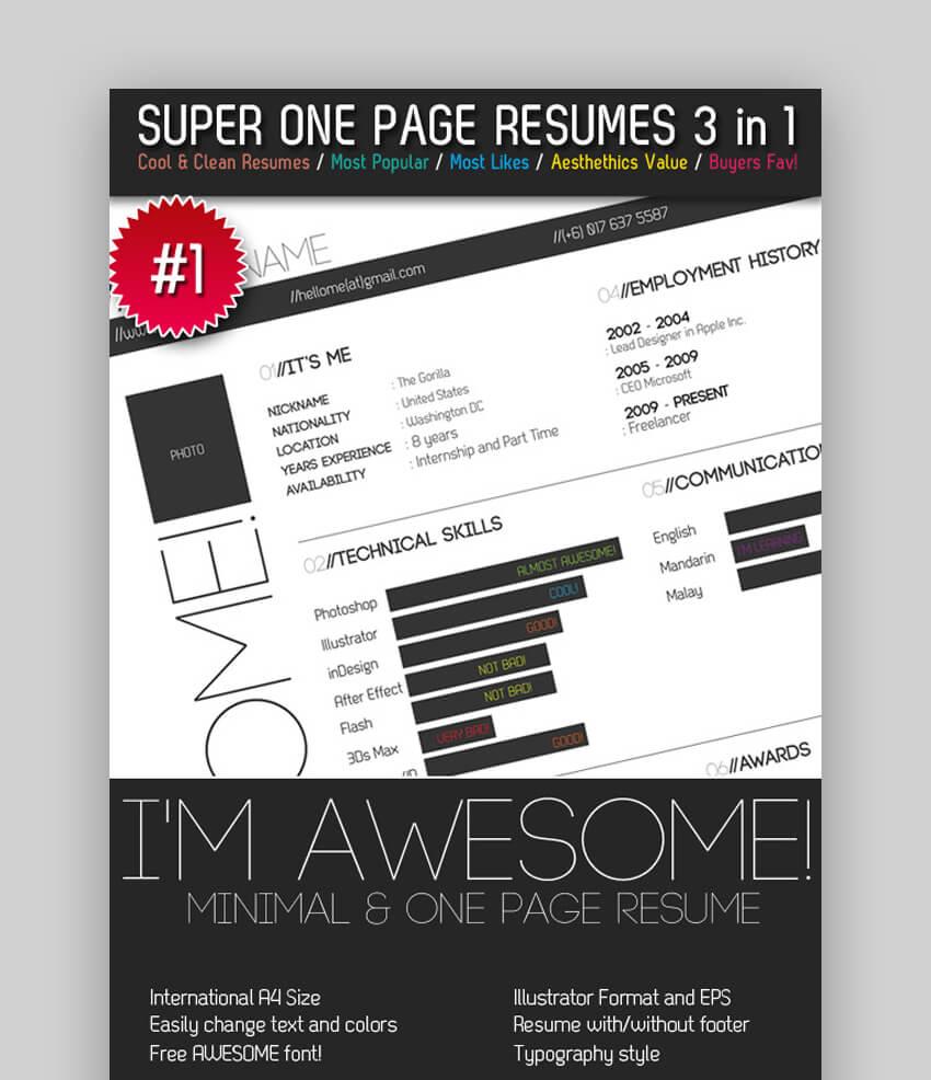 Super One Page Resumes Bundle