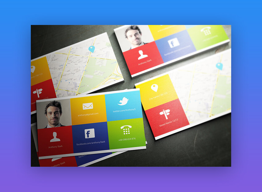 Map on Back of Business Card - Colors Business Card Template on Envato Elements