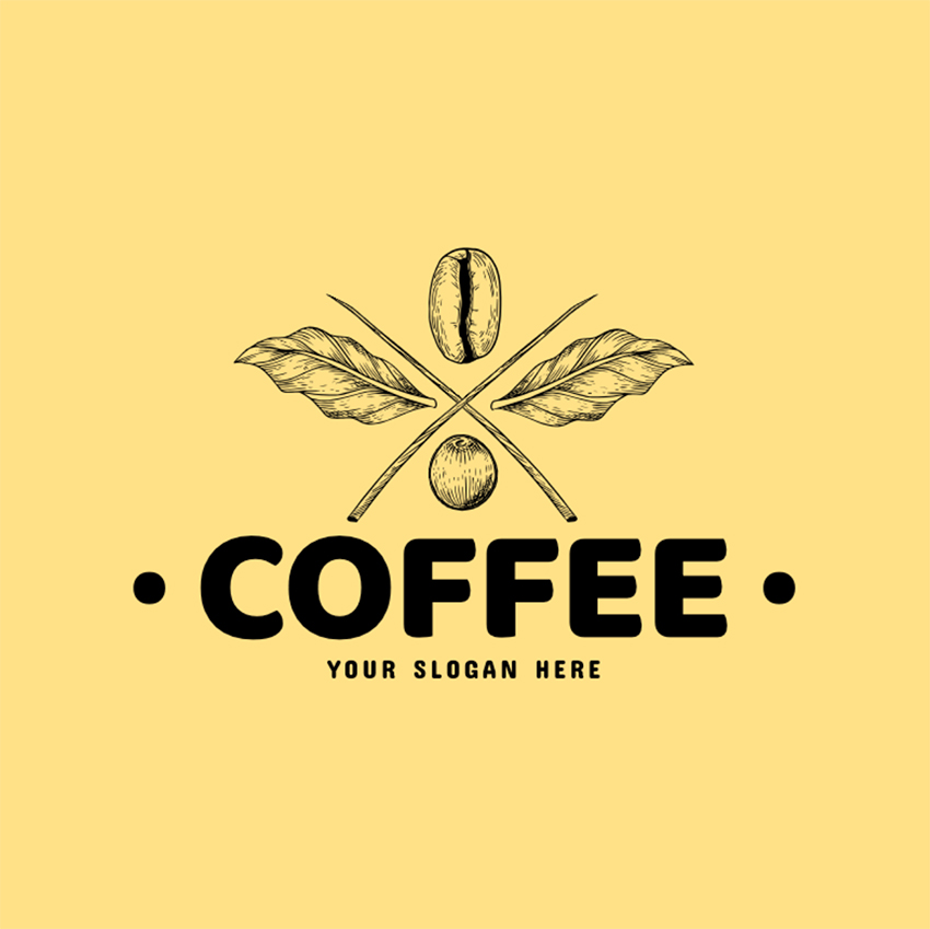 Coffee brand Logo Maker with Coffee Beans Line Art