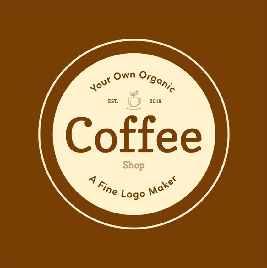 Logo Template with Round Design for Coffee Shops