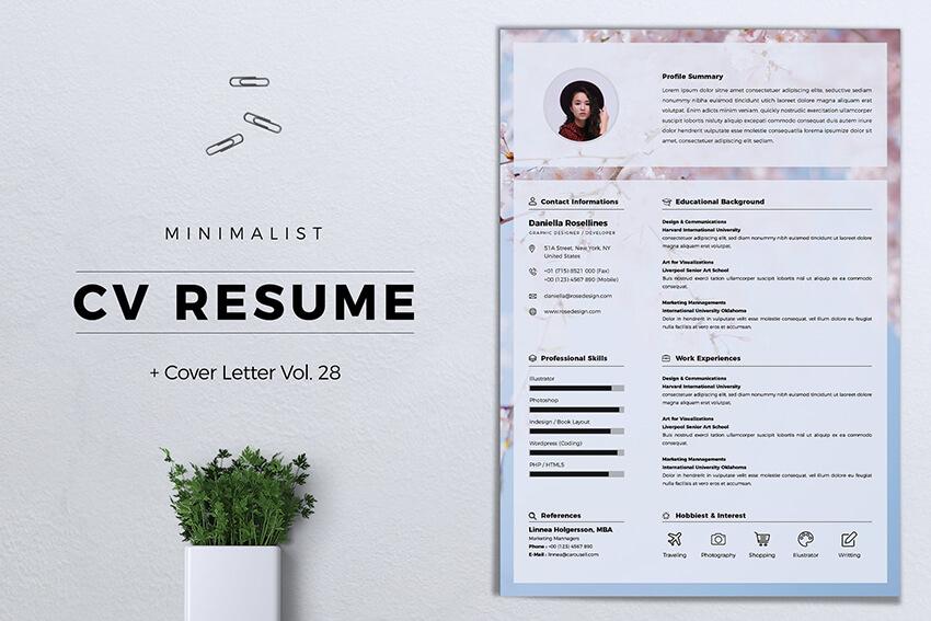 Minimalist CV Resume Vol 28 with Education Example