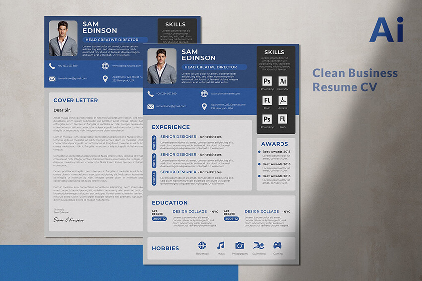 Professional Resume CV Template with Heading Example