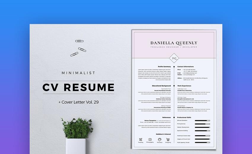 Minimalist CV Resume Vol 29 - Elegant  Resume Template
