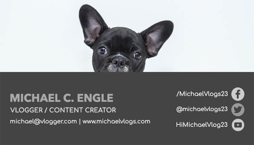 Business Card Design Maker for a Dog Vlog