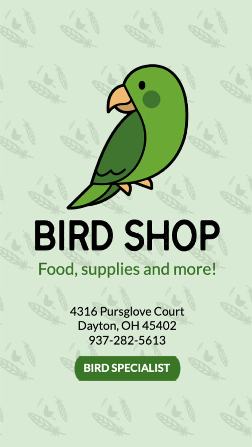 Business Card Maker for Bird Shops