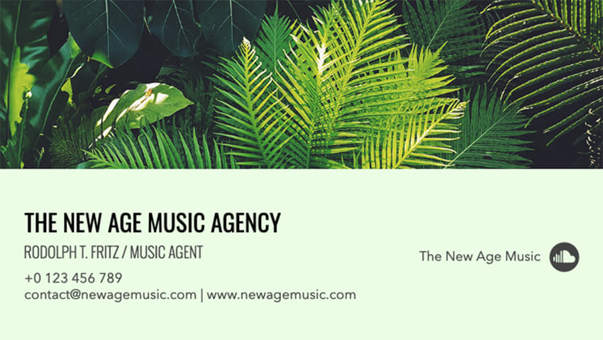 Business Card Maker for a Music Agent