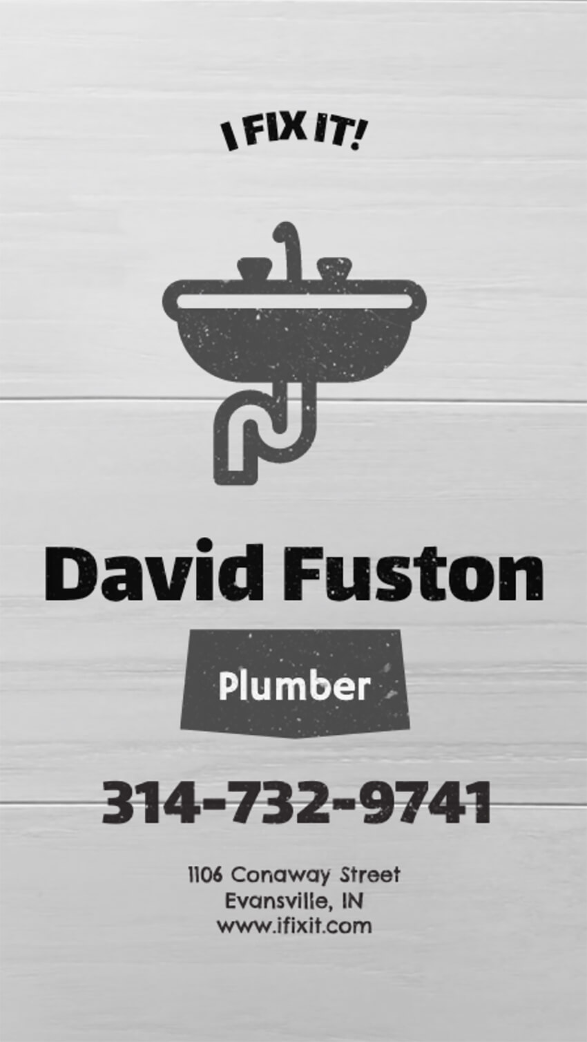 Business Card Template for Plumbers and Handymen