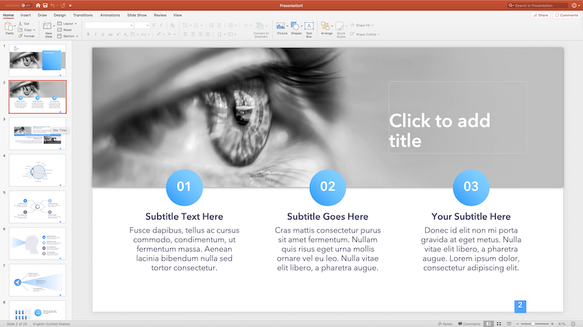 Features slides in ppt template