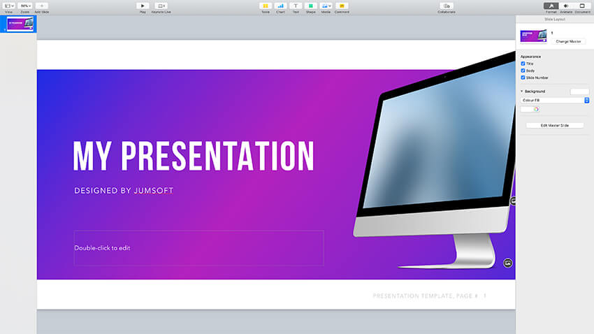 customizing the cover slide